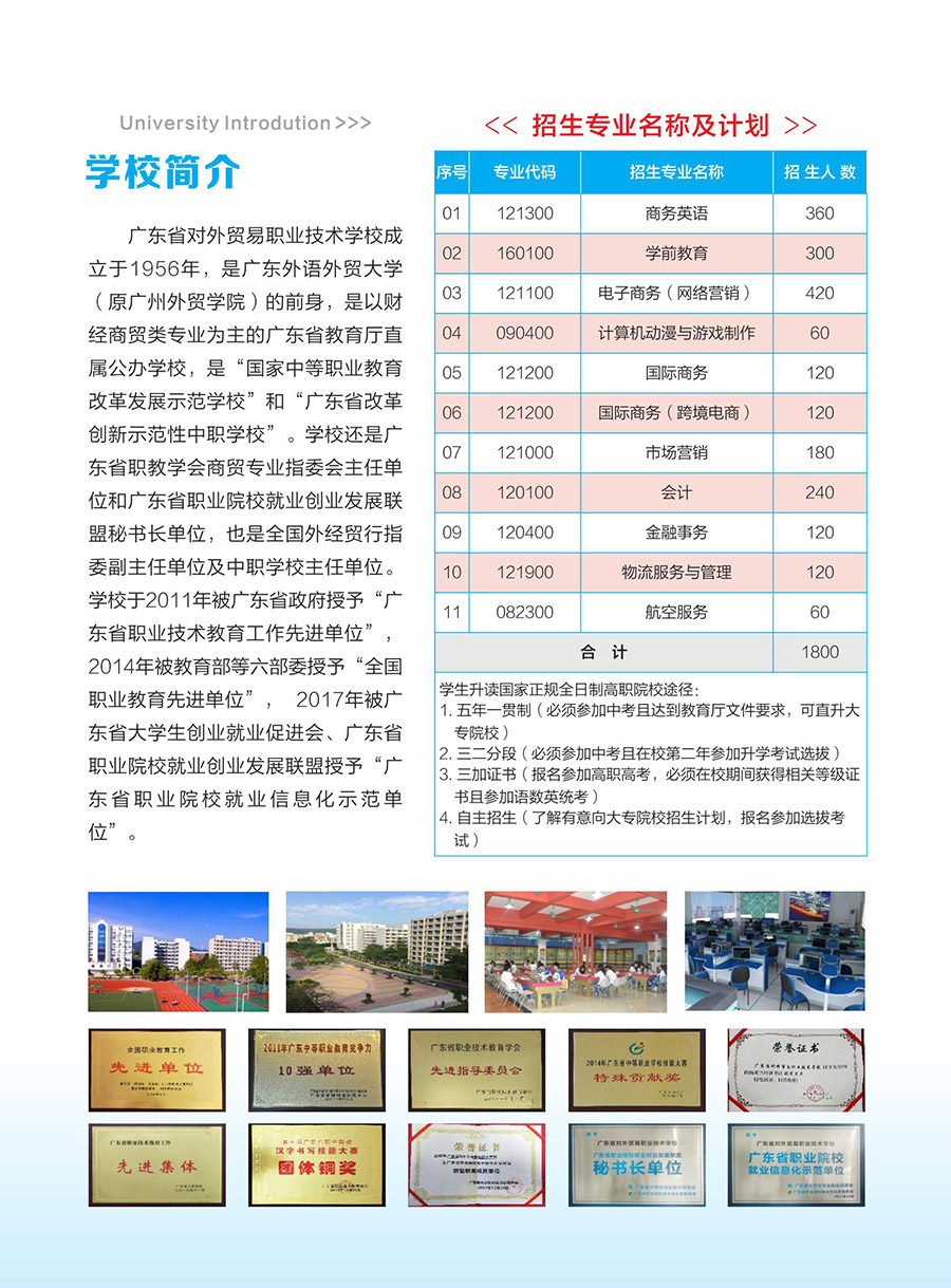 2018年广东省对外贸易职业技术学校招生简章(2)